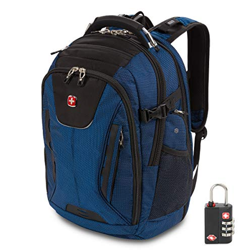 SWISSGEAR 5358 ScanSmart Laptop Backpack |BONUS TSA Lock Included| Fits Most 15 Inch Laptops and Tablets | USB Charging Port | Ideal for Work, Travel, School, College, and Commuting- Blue/Black