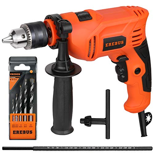 EREBUS,57322 IMPACT DRILL 5Amp Electic Corded Drill, 1/2'' Metal Chuck, 0-3000RPM, Powerful Variable Speed Drill for Drilling in Steel, Concrete, and Steel