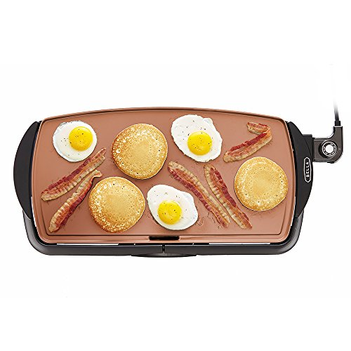 BELLA Electric Ceramic Titanium Griddle, Make 10 Eggs At Once, Healthy-Eco Non-stick Coating, Hassle-Free Clean Up, Large Submersible Cooking Surface, 10.5' x 20', Copper/Black