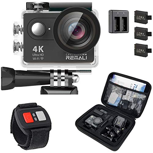 """REMALI CaptureCam 4K Ultra HD and 12MP Waterproof Sports Action Camera Kit with Carrying Case, 3 Batteries, Dual Battery Charger, 2"""" LCD Screen, WiFi, Remote Control, and 21 Mounts and Accessories"""