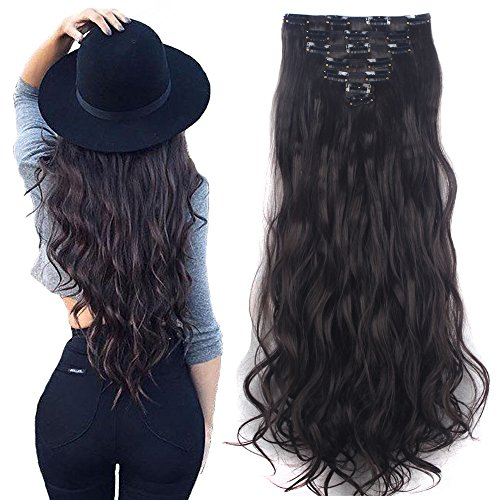 Lelinta 7Pcs 16 Clips 24 Inch Wavy Curly Full Head Clip in on Double Weft Hair Extensions