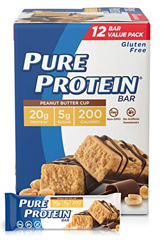 Pure Protein Bars, High Protein, Nutritious Snacks to Support Energy, Low Sugar, Gluten Free, Peanut Butter Cup, 1.76oz, 12 Count
