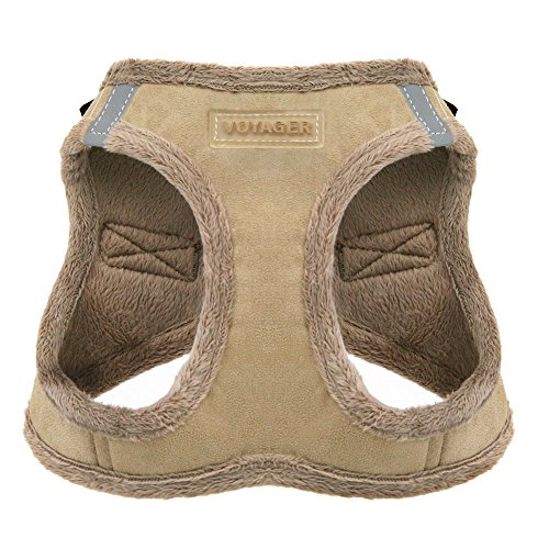 Voyager Step-In Plush Dog Harness - Soft Plush, Step In Vest Harness for Small and Medium Dogs by Best Pet Supplies - Latte Suede, Medium (Chest: 16' - 18') (206-LT-M)