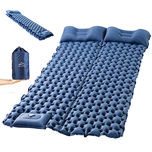 Sleeping Pad for Camping, LUXEAR Inflatable Camping Pad for 2 Person Foot Press Lightweight Backpacking Mat for Hiking Travel Camping Durable Waterproof Air Mattress Compact Hiking Pad