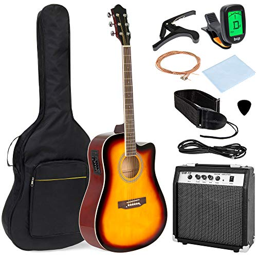 Best Choice Products 41in Full Size Acoustic Electric Cutaway Guitar Set w/ 10-Watt Amplifier, Capo, E-Tuner, Gig Bag, Strap, Picks (Sunburst)