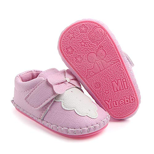 PanGa Baby Boys Girls Non-Slip Hard Bottom Rubber Sole Slippers Pu Leather Cartoon Sneakers Toddler Infant First Walkers Crib Shoes (12-18 Months M US Infant, A-Pink-Bow)
