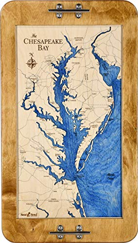 Chesapeake Bay 13.5x24-in Decorative Serving Tray, Nautical Gifts, Proudly Made in the USA, Nautical Chart Art, 3D Wood Maps, Boat Cleat Serving Platter (Warm Honey - Deep Blue)