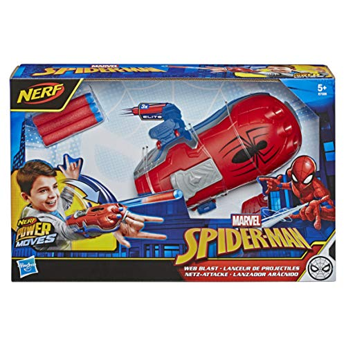 NERF Power Moves Marvel Spider-Man Web Blast Web Shooter NERF Dart-Launching Toy for Kids Roleplay, Toys for Children Aged 5 and up
