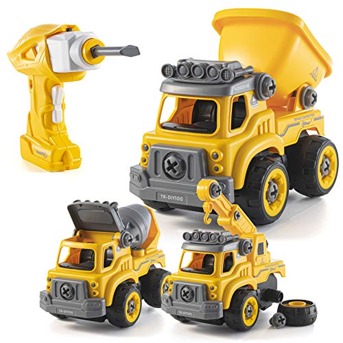 Take Apart Toys with Electric Drill | Converts to Remote Control Car | 3 in one Construction Truck Take Apart Toy for Boys | Gift Toys for Boys 3,4,5,6,7 Year Olds | Kids Stem Building Toy