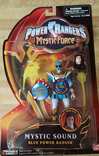Power Rangers Mystic Force Mystic Sound 6 Inch Tall Action Figure - Blue Power Ranger with Weapons That Glow in the Dark
