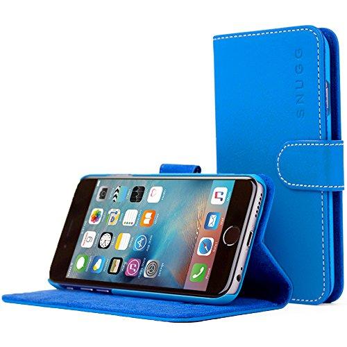 Snugg NuBuck Leather Fiber Card Holder Flip Stand Wallet Case for Apple iPhone 6s / 6 - Blue
