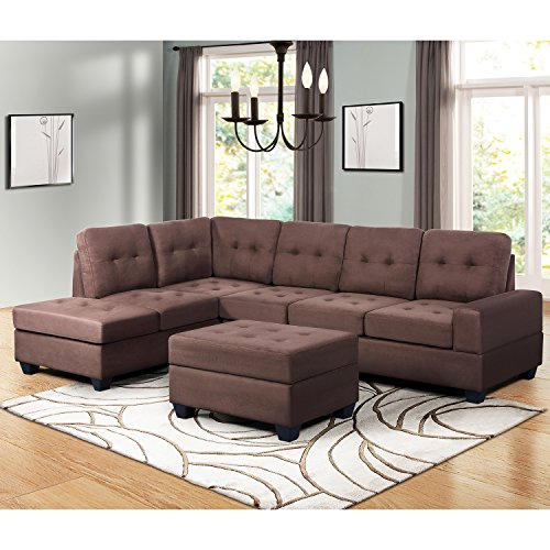 Harper & Bright Designs Sectional Sofa 3-Seat Sofa Set Couches with Chaise Lounge Storage Ottoman and Cup Holders for Living Room (Brown)