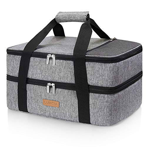 LUNCIA Double Decker Insulated Casserole Carrier for Hot or Cold Food, Lasagna Holder Tote for Potluck Parties/Picnic/Cookouts, Fits 9'x13' Baking Dish, Grey