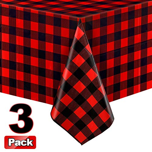 3 Pieces Christmas Buffalo Plaid Plastic Table Covers Rectangle Checkered Holiday Cottage Check Tablecover for Picnic, 51 x 71 Inch (Red and Black)