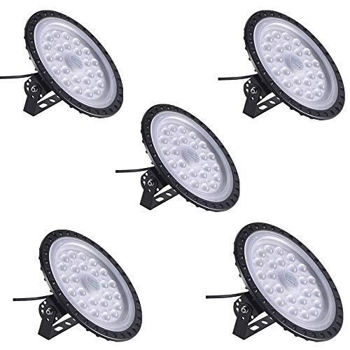 100W UFO LED High Bay Light Factory Warehouse Industrial Lighting 12000 LM 6000-6500K IP54 Warehouse LED Lights- High Bay LED Lights- Commercial Bay Lighting for Garage Factory Workshop Gym (5 PCS)