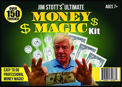 Jim Stott's Ultimate Money Magic Kit, Magic Tricks Set Includes Coin Thru Glass, Flying Coins, Magic Pen Penetration, The Money Maker, Folding Paper Mystery, The Ultimate Levitation System