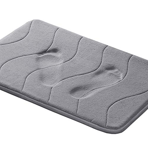 Memory Foam Coral Fleece Non Slip Bathroom Mat, Super Soft Microfiber Bath Mat Machine Washable Bath Rugs Super Absorbent Thick and Durable Bath Rugs 17W X 24L Inches (Gray Waved Pattern)
