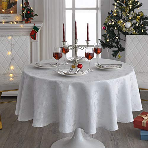 Luxury Rectangle Holiday Tablecloth,Christmas Woven Jacquard,100% Polyester Tablecloths Washable, Water Resistance Soil Resistant Table Cover for Holiday/Wedding/Party (Ivory, 70inch Round)