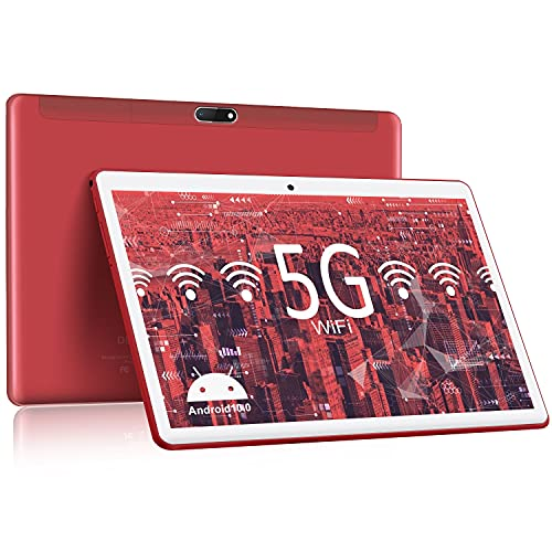 5G WiFi Tablet 10.1 inch Android 10.0 Tablet PC with 64GB ROM/128GB Expansion, 1.6 GHz Quad Core Processor,10.1' IPS Touch-Screen,Dual Camera, Bluetooth, 6000mAh,Google Certified Tablets