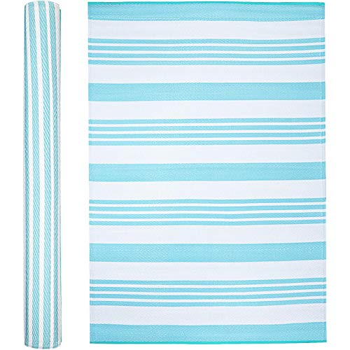 Outdoor RV Rug by Funky Strokes. Plastic Straw Rug for Camping, Patio, Porch, Backyard, Deck or Picnic. Large Waterproof Mat in Ice Blue Striped Design