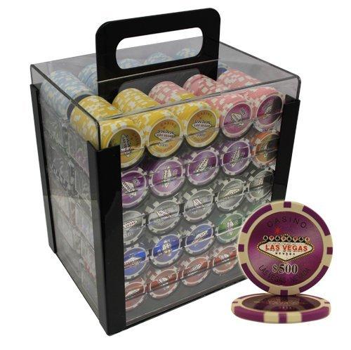 MRC 1000pcs Las Vegas Casino Laser Poker Chips Set with Acrylic Case Custom Build