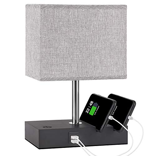 Touch Control Bedside Lamp with 2 USB Ports, Aooshine Fully-Dimming USB Table Lamp with 2 Phone Stands and Low Voltage Led Bulb, Grey Fabric Shade Modern Style, Suitable for Bedroom, Living Room, Off