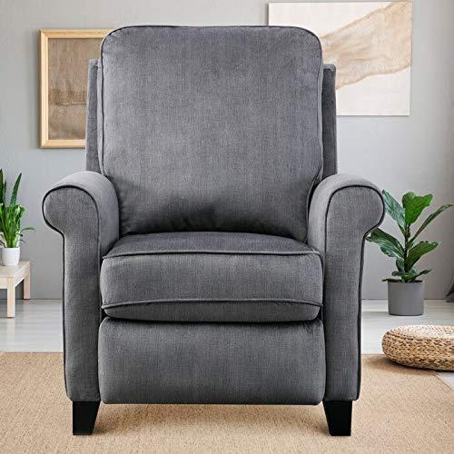 GOOD & GRACIOUS 32.75' Push Back Recliner Arm Chair Morden Manual Reclining Single Sofa for Living Room Fabric Slate Grey