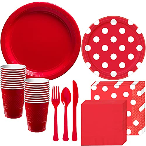 Party City Red Polka Dot Tableware Party Supplies for 16 Guests, Includes Paper Plates, Napkins, Plastic Cups, and Cutlery
