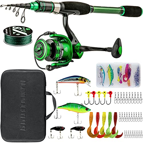 Telescopic Fishing Rod and Reel Combos Collapsible Fishing Pole Compact Fishing Pole for Bass Trout Portable Spinning Fishing Kit Set with Carrier Bag for Travel Freshwater Saltwater Fishing