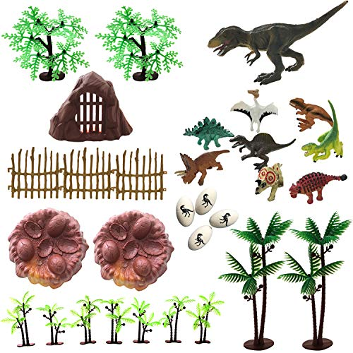 30 Piece Dinosaurs Toys Set - Plastic Dinosaurs Figures, Realistic Dinosaurs Trees & Rocks,Dinosaur Eggs and Nest,Kids Dinosaurs Toys Set for Boys and Girls