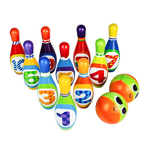 Bowling Set Toy 10 Colorful Soft Foam Bowling Pins 2 Balls Indoor Toys Toss Sports Developmental Game for Active Party Family Games Kids Boys Girls Preschooler 3 4 5 6 Years Old