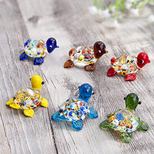H&D HYALINE & DORA Handmade Mini Sea Turtle Art Glass Blown Sea Animal Figurine,Set of 6