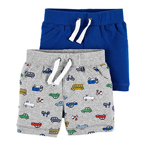 Carter's Baby Boys' 2-Pack Shorts (3 Months, Heather/Blue)