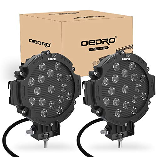 OEDRO 7 Inches 51W 5100LM LED Light Pods, Round Spot Light Pod Off Road Driving Lights Fog Bumper Roof Light Fit for Boat, Jeep, SUV, Truck, Hunters, Motorcycle, 2 years Warranty