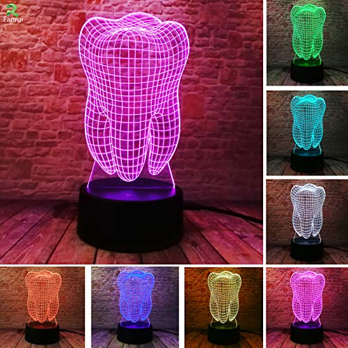 Fanrui Fantastic Illusion Tooth 3D Table Lamp 7 Color Auto Changing AA Battery LED Remote Control Night Light Boys Home Bedroom Decoraction Dentist Child Baby Sleeping Kids Toys Teens Xmas Gifts Toys