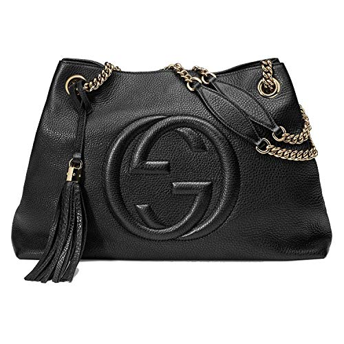 Gucci Soho Medium Black Double Leather Chain Shoulder Bag Tote Black Gold New