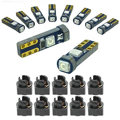 DODOFUN Deep Blue T5 37 74 LED Bulb with Twist Lock Socket PC74 PC37 Dashboard Instrument Panel Gauge Cluster Light Pack of 10