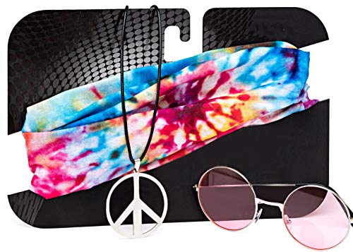 Hippie Costume Set for Women & Men. Kit Includes Sunglasses, Peace Sign Necklace & Headband To Make You The Hit Of The Party (Pink)