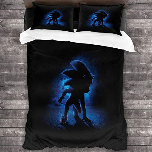 Comforter Bedding Set 3 Piece Set, Sonic The Hedgehog Printed Comforter Set Comforter Cover with and 2 Pillow Shams with Zipper Closure Ultra, Twin (68x88 inches)