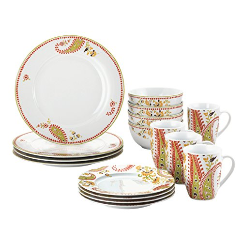 Rachael Ray Dinnerware Paisley 16-Piece Porcelain Dinnerware Set