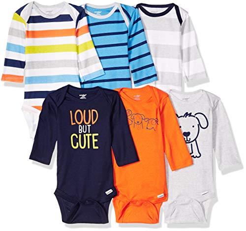 Onesies Brand Baby Boys' 6-Pack Long Sleeve Bodysuits, Dog, 12 Months