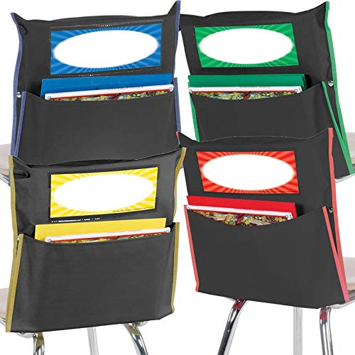 Really Good Stuff Grouping Chair Pockets – Set of 12 - Black with Colored Piping and Name Tag – Classroom Chair Organizer Keeps Students Organized and Classrooms Neat -Black with Piping in 4 Colors
