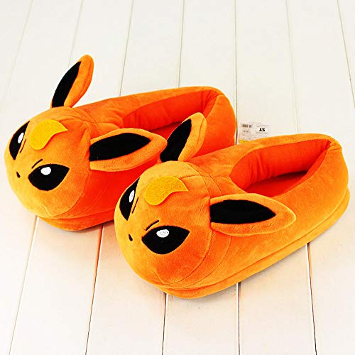 HPETN 30cm Flareon Plush Shoes Stuffed Plush Slipper Winter Indoor Slippers Gift for Family 1Pair