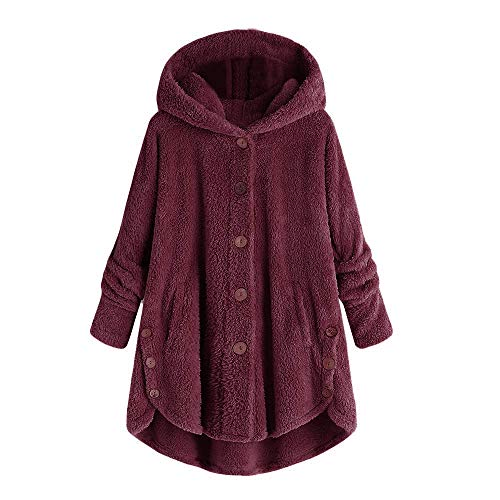 Fashion Women Sexy Button Coat Fluffy Tail Tops Hooded Pullover Loose Sweater Wine