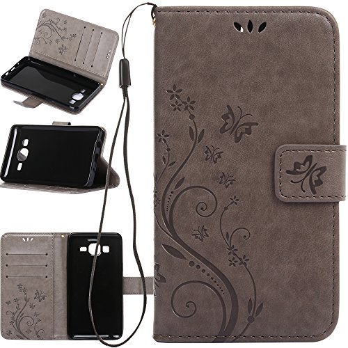 Harryshell Galaxy On5 Case, (TM) Butterfly Flower PU Leather Wallet Protective Flip Pouch Case Cover with Card Slots & Stand for Samsung Galaxy On5 (A-01)