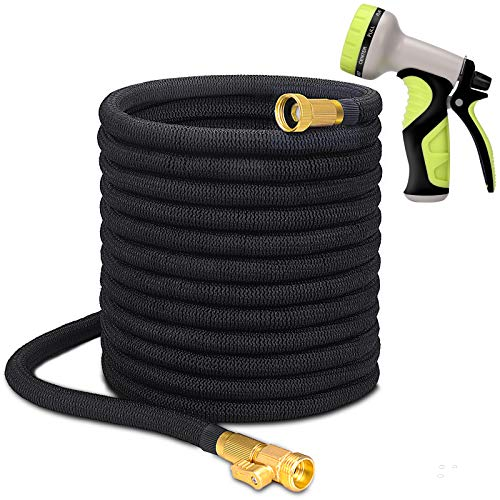 Higen 100ft Garden Hose Set, Extra Strength Fabric Triple Layer Latex Core, 3/4 Solid Brass Fittings, 9 Function Spray Nozzle with Storage Bag, Premium No-Kink Flexible Water Hose