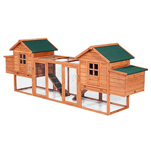PawHut 124' Dual Backyard Chicken Coops with Outdoor Ramps and Nesting Boxes