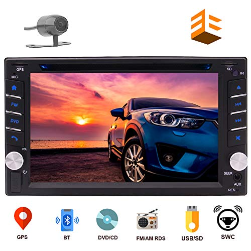 EINCAR Double DIN Car Stereo GPS Navigation Car DVD CD Player in Dash Bluetooth Head Unit with Capacitive Touchscreen AM FM RDS Autoradio 2 DIN Car Radio Receiver Audio Video USB Map Card+Rear Camera