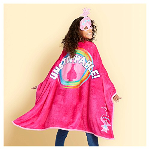 TROLLS POPPY SUPER BLANKY BED BLANKETS 46'X60' ALL IN ONE CAP AND THROW INLCLUDED MASK