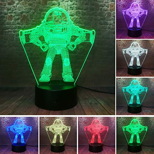 Toy Story Pixar Ultimate Buzz Lightyear Spaceman 7 Color Change Night Light LED Astronaut Action Figure Boys Bedroom Cartoon Decor Child Kids Gift (Buzz Lightyear)